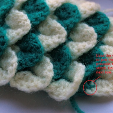 One of the many slip-ups I made while trying this stitch.