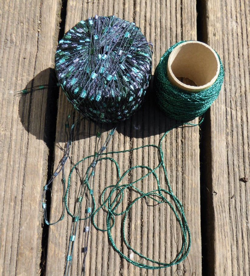 Been wanting to use yarn on the left (Sirdar Firefly) for ages. Seemed ideal for dragonfly wings. The yarn on the right is some sparkly crap I bought for making Christmas things.