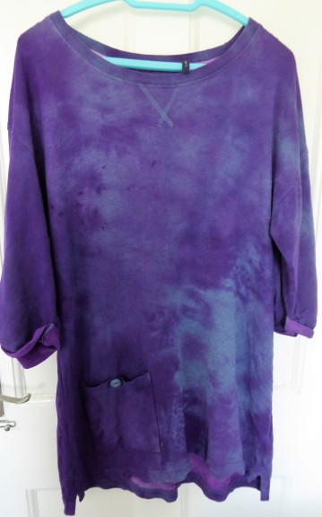 What I didn't bargain on was that the polyester robe would act as a resist for the dye.