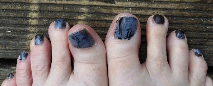 This is what you get if you put the grey face paint over the nail polish before it's properly dry. It doesn't come off. Lovely, eh?