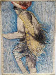 I liked this modern quilted and embroidered sketch of a festival dancer by Bobby Britnell.