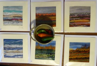 We left Harlech pottery with a little bowl and some textile collage cards by Ann Giorgi-Llewellyn.