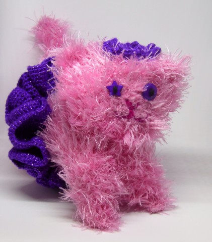 The fluffy squares became Princess Candlyfloss Sparkle (crochet cat #4) with a purple sparkly tutu and crown.