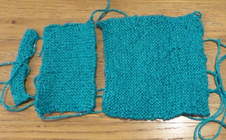 Knitting with a more tricky, slithery sparkly yarn. It's pretty terrible.