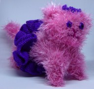 Crochet cat #4, Princess Candy Floss Sparkle. Cat size, made with eyelash yarn.