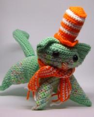Socks, crochet cat #2, cat size made with DK sock yarn.