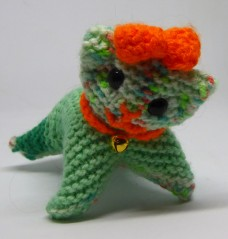 Knitted cat #1, Sprout. Kitten size, made with DK sock yarn.