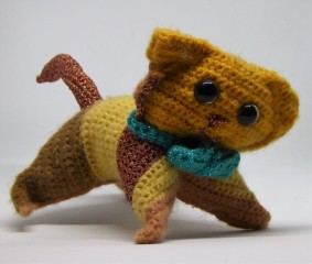 Crochet cat #3, Ginger, cat size. Made with choice SPARKLZ, finer than DK so he came out smaller than Socks.