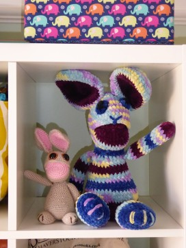 Here's Velveteen with a bunny made to the original pattern in DK yarn.