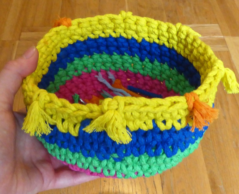 Folks, this is 50 yards of cord, crocheted. With a teeny bit left over to make tassels.
