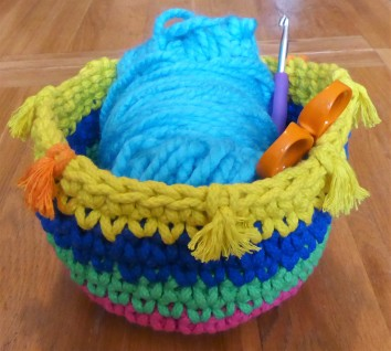 I will probably end up measuring all my baskets in yarn ball capacity.