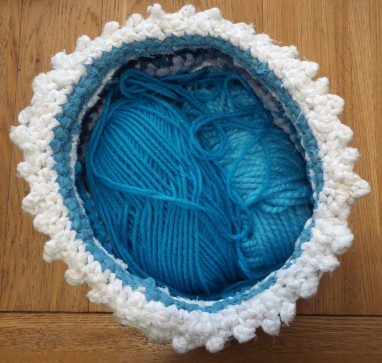 All my baskets will now be measured in yarn capacity. This one is 2 -3 chunky yarn balls.