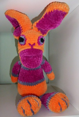 Orange and pink bunny, made from the free Easter Bunny pattern, adapted for chunky yarn.