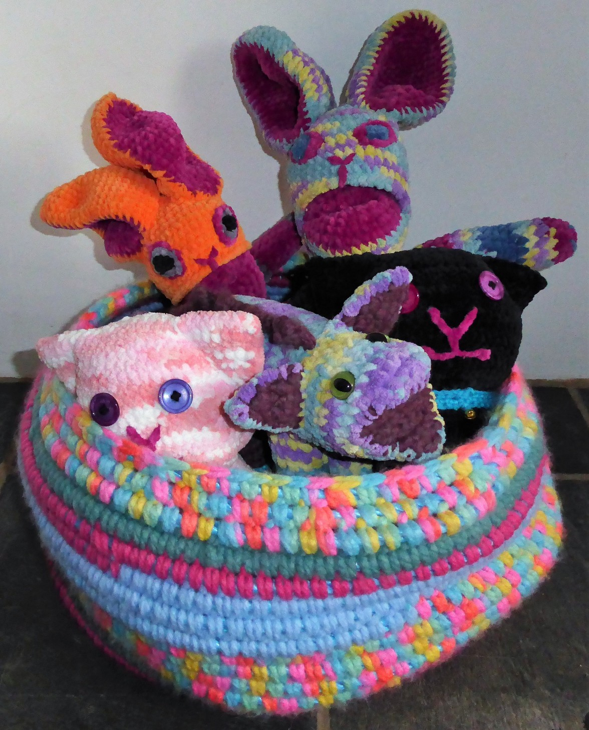 The latest basket becomes a crochet critter coracle!