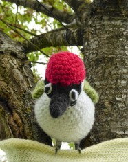 This life size green woodpecker was crocheted by John Pickles. He is perched in the avenue of trees hung with memorial hearts.
