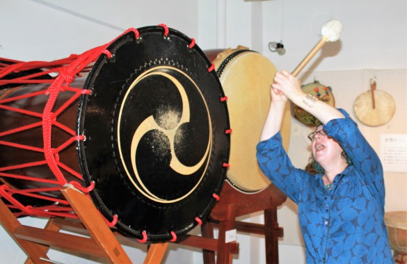 Banging my own drum at the Drum Museum in Asakusa. You can have a go on nearly all of them, even the big ones!