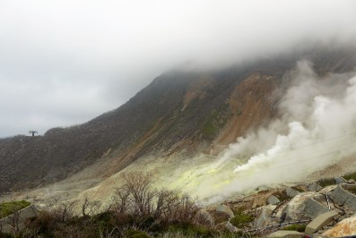 Sulphuric fumes from volcanic fumaroles.