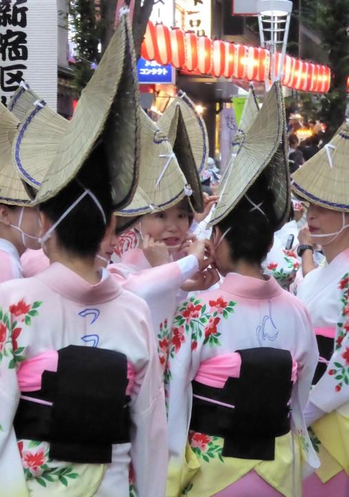 Folks getting ready for the Shimokitazawa Awa Odori Festival.