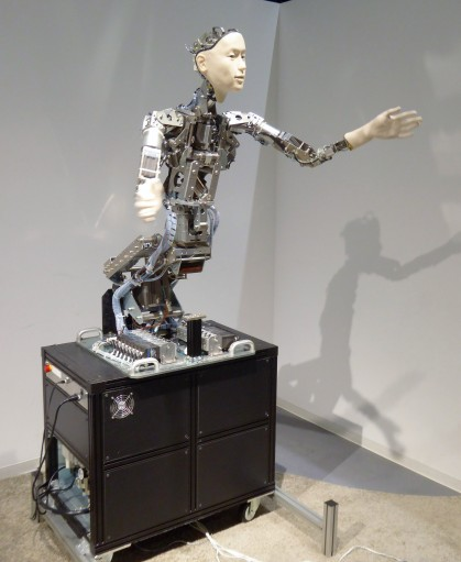 What would a trip to a Japanese tech museum be without some robots? This one integrates movements of passersby into its actions. It also has a strangled squawk for a voice. Terrifying.