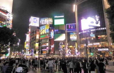 And here's the Shibuya crossing at night.
