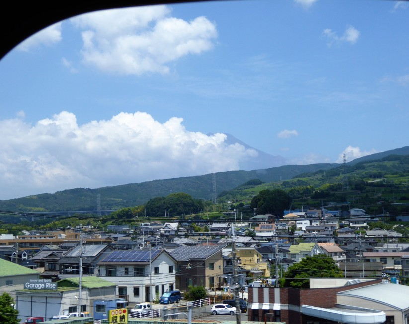 Fuji-san peeking out from behind the clouds as we sped away from Tokyo on the shinkansen. Remember to ask to be mountainside on the train!