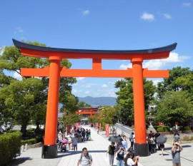 Looking out through the rōmon, (tower gate), down the main approach to the temple.