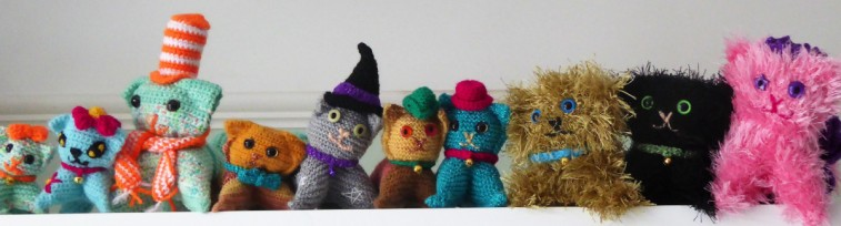 10 crocheted and knitted kitties for the Kilometer of Cats & Kittens charity project.
