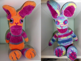 A couple more chunky bunnies in chenille (baby blanket) yarn as presents.