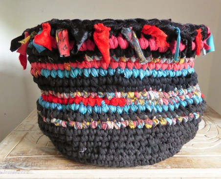 My second recycled clothing basket. This one ended up being inspired by New Orleans.