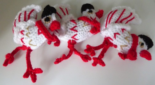 While I was on the chicken making roll, I went Christmasy with three French hens.